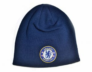 Chelsea FC Woven turned up Beanie Hat (navy) - official product    (bb)